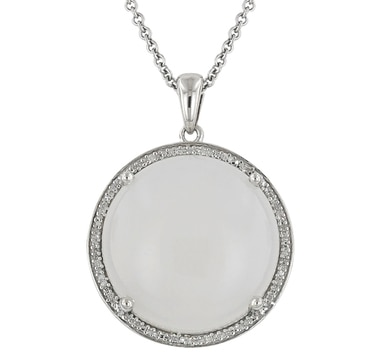 Tracey Bregman Sterling Silver & Rhodium Plate Gemstone Pendant with Chain