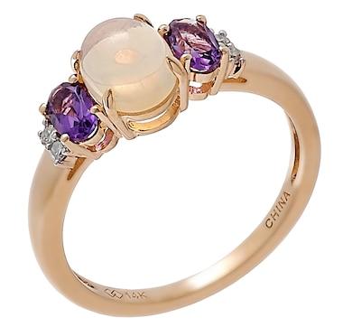 14K Yellow Gold Ethiopian Opal, Amethyst & Diamond Ring