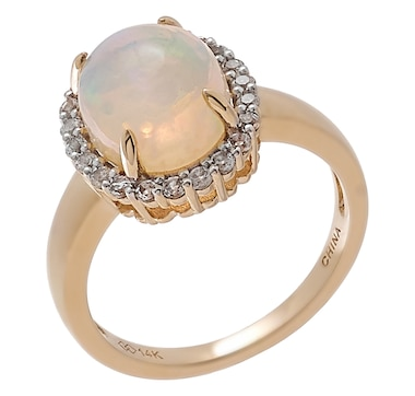 14K Yellow Gold Ethiopian Opal & White Topaz Ring