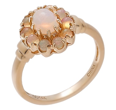 14K Yellow Gold Ethiopian Opal Halo Ring