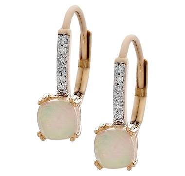 14K Yellow Gold Ethiopian Opal & Diamond Drop Earrings