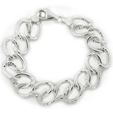 Double Oval Textured Sterling Silver Bracelet
