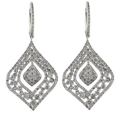 Pendants d'oreille en argent sterling ornés de diamants
