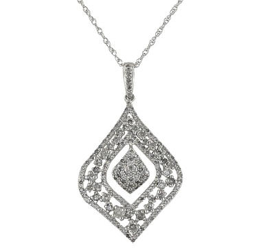 Sterling Silver Diamond Pendant & Chain