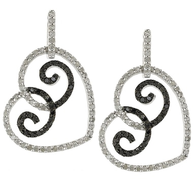 Sterling Silver Black & White Diamond Heart Earrings