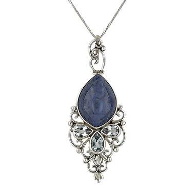 Himalayan Gems Dumortierite & Blue Topaz Pendant & Chain