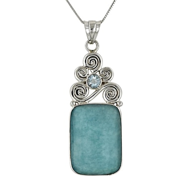 Himalayan Gems Sterling Silver Amazonite & Blue Topaz Pendant & Chain