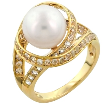 Sterling Silver Pearl & White Topaz Orbit Ring