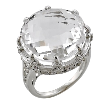Sterling Silver Rhodium Plate Fleur De Lyse Rock Crystal Ring