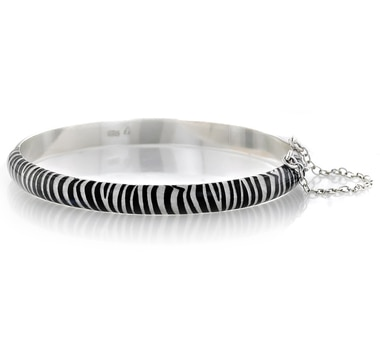 Sigal Style Sterling Silver Animal Print Bangle