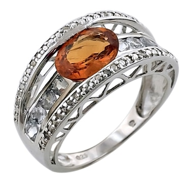 Sterling Silver Spessartite & Diamond Ring