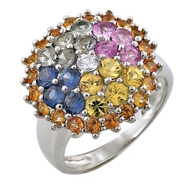 Sterling Silver Multi Sapphire Cluster Ring