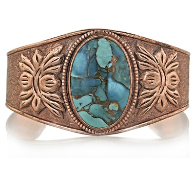 Himalayan Gems Copper Cuff Bangle with Gemstone