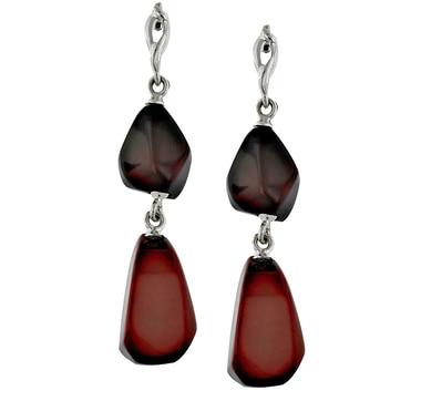 Sterling Silver Freeform Amber Dangle Earrings