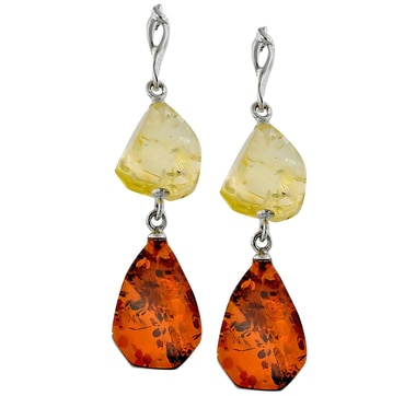 Sterling Silver Freeform Amber Dangle Earrings