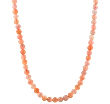 "8mm Pink Morganite 20"" Sterling Silver Necklace"