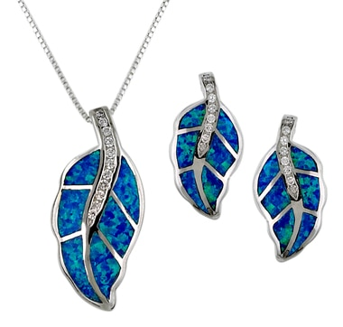 Opalite & Cubic Zirconia Leaf Design Sterling Silver Pendant & Earrings