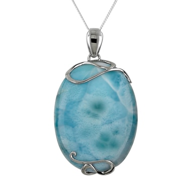 Oval Larimar Sterling Silver Pendant with Chain