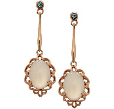 Multi Gemstone Sterling Silver & Rose Gold Plate Dangle Earrings