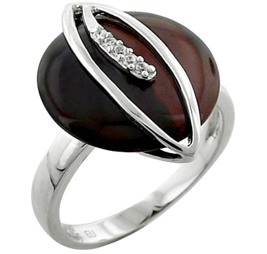 Red Tiger Eye & Cubic Zirconia Sterling Silver Ring
