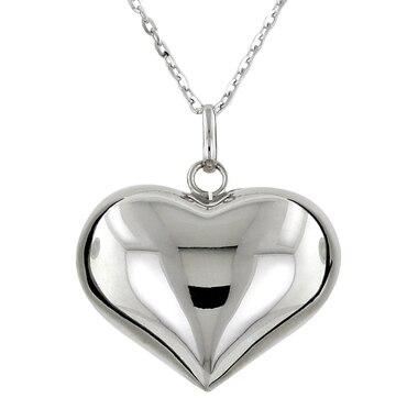 Pendentif en forme de cœur Uno A Erre en argent sterling plaqué rhodium, avec chaîne de 34 po