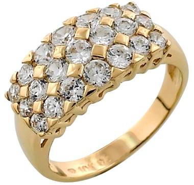 Diamonelle 3 Row 10K Gold Ring