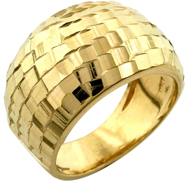 Sterling Silver & Gold Plate Faceted Ring