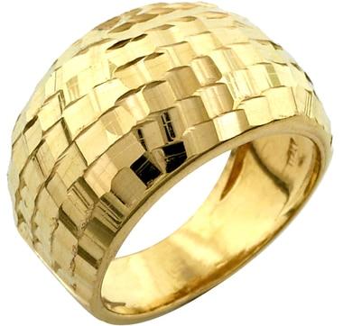 Bague en argent sterling plaqué or à facettes