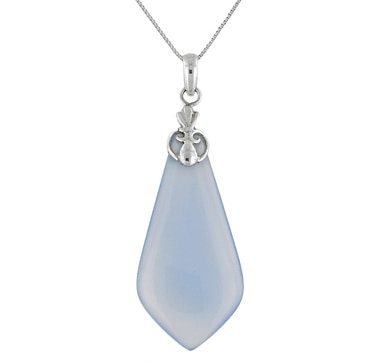 Himalayan Gems Blue Chalcedony Sterling Silver Pendant & Chain