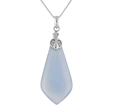 Pendentif Himalayan Gems en argent sterling orné d'une calcédoine bleue, avec chaîne