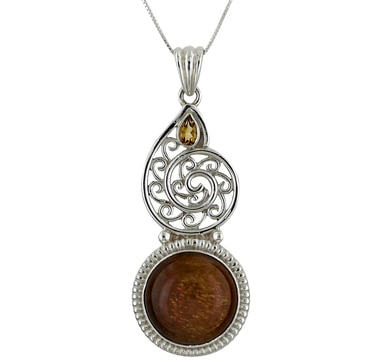 Himalayan Gems Sunstone & Citrine Sterling Silver Pendant with Chain