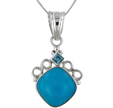 Himalayan Gems Turquoise & Blue Topaz Sterling Silver Pendant with Chain