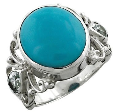 Himalayan Gems Blue Turquoise & Blue Topaz Sterling Silver Ring