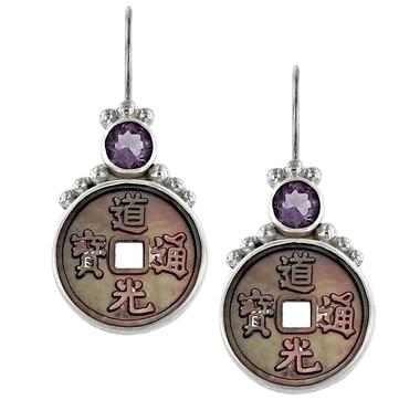 Boucles d'oreilles Himalayan Gems en argent sterling ornées de nacre noire et d'une améthyste