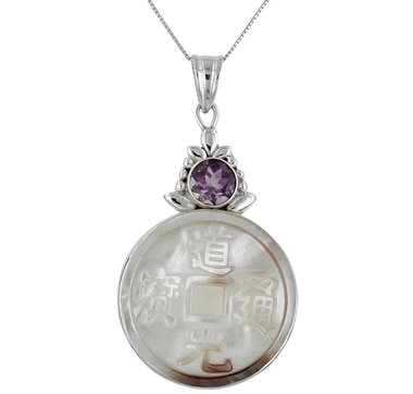 Himalayan Gems Black Mother of Pearl & Amethyst Sterling Silver Pendant with Chain