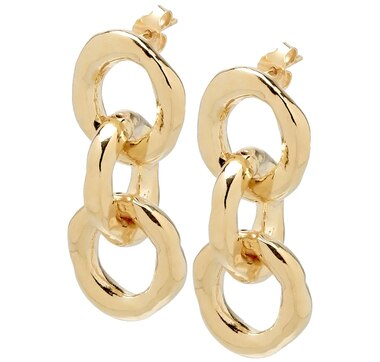 Etuscan Design Rolo Link Sterling Silver & 18K Gold Plate Earrings