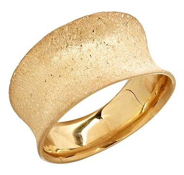 Concave Textured Sterling Silver & 18K Gold Plate Ring