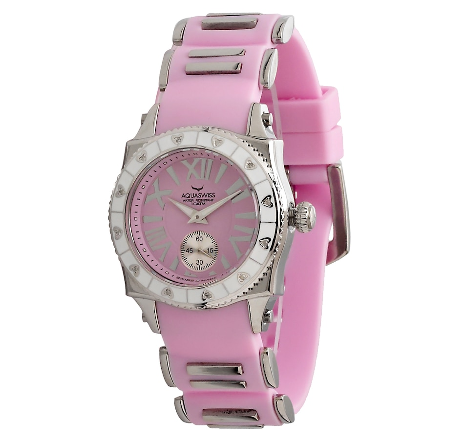 Image 459139_PNK.jpg , Product 459-139 / Price $199.77 , Aquaswiss Stainless Steel Woman's Diamond Accent Silicone Strap Watch from AQUASWISS on TSC.ca's Jewellery department