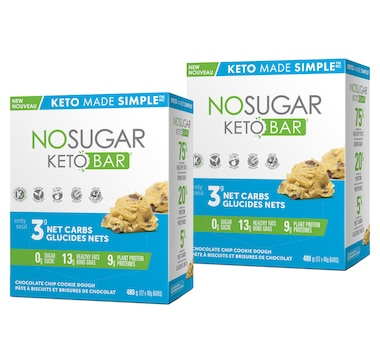 Keto Made Simple No Sugar Keto Bar 12-Count Duo in Cookie Dough - 30-Day Auto Delivery