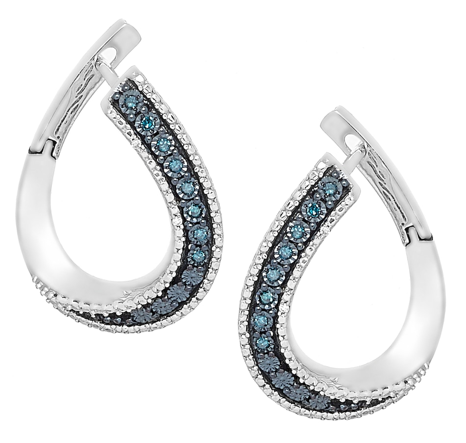 Image 476140_BLU.jpg , Product 476-140 / Price $119.99 , Colours of Diamonds Sterling Silver 0.10ctw Diamond Huggie Earrings from Colours of Diamonds on TSC.ca's Jewellery department
