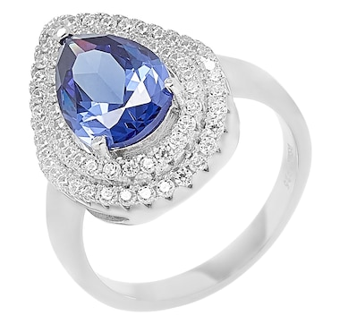 Gem Illusions Sterling Silver Simulated Gemstone Pear Shape Ring
