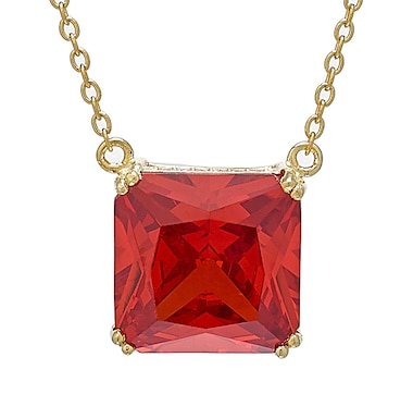 Gem Illusions Sterling Silver Simulated Gemstone Square Pendant Necklace