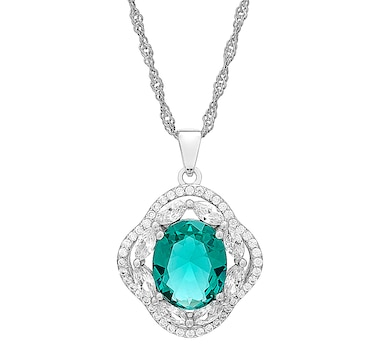 Gem Illusions Sterling Silver Simulated Gemstone & Cubic Zirconia Pendant with Chain