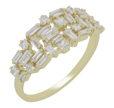 LUXLE Jewellery 14K Yellow Gold Diamond Cluster Ring