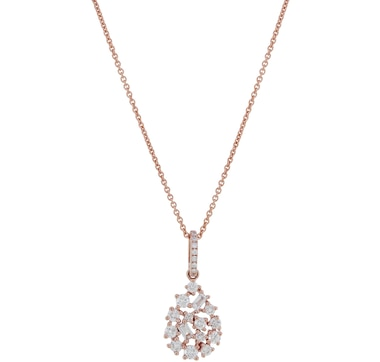 LUXLE Jewellery 14K Rose Gold Diamond Pear Shape Pendant with Chain