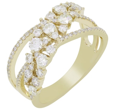 LUXLE Jewellery 14K Yellow Gold Diamond Crossover Ring