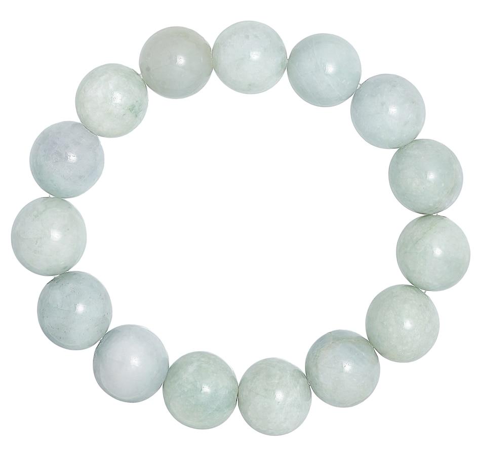 Image 476720.jpg , Product 476-720 / Price $69.99 , Jade of Yesteryear Sterling Silver 13.5-14 mm Genuine Jade Bead Stretch Bracelet from Jade of Yesteryear on TSC.ca's Jewellery department