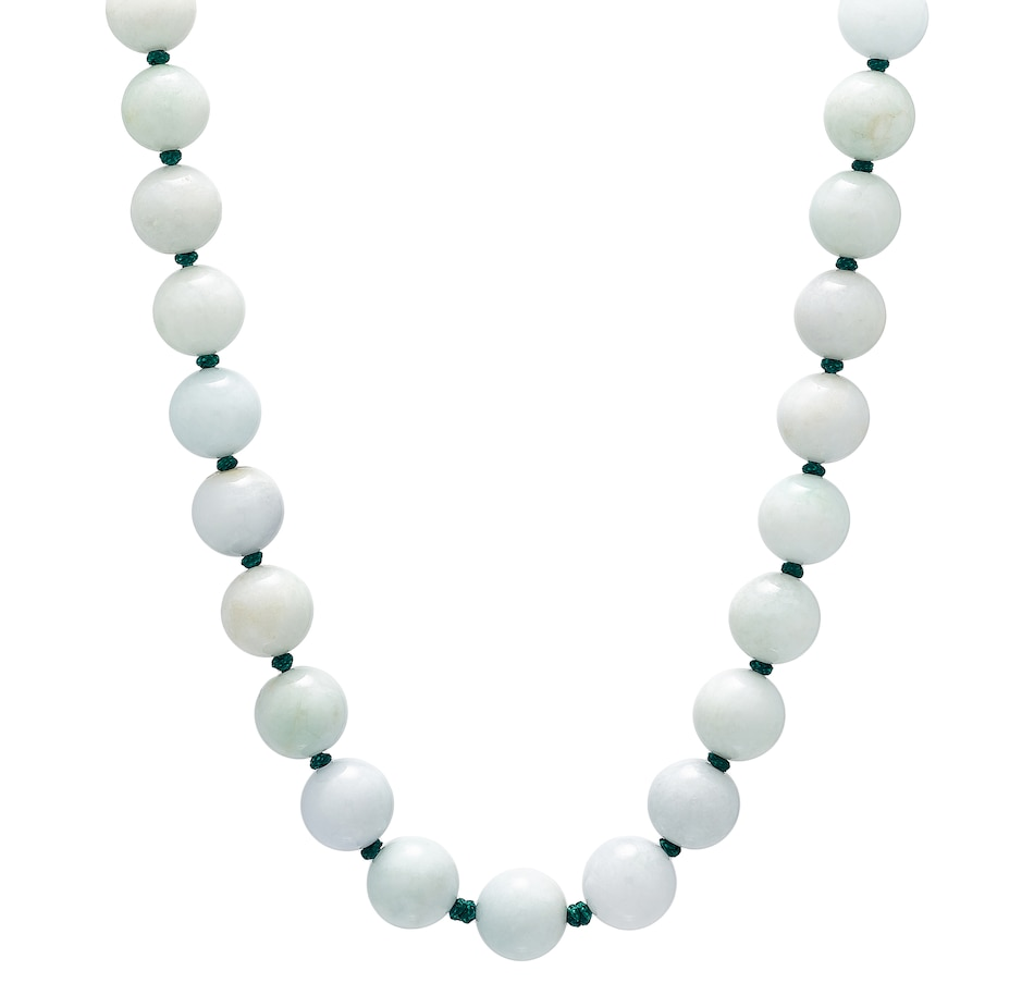 Image 476721.jpg , Product 476-721 / Price $595.00 , Jade of Yesteryear Sterling Silver 17-18 mm Genuine Jade Bead Necklace from Jade of Yesteryear on TSC.ca's Jewellery department