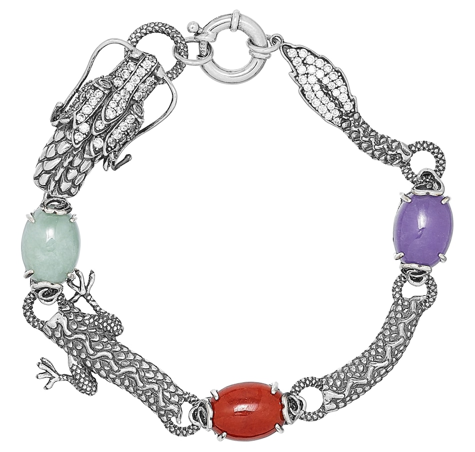 Image 476739.jpg , Product 476-739 / Price $306.00 , Jade of Yesteryear Sterling Silver Oxidized Genuine Green, Dyed Red, Dyed Purple Jade & Cubic Zirconia Bracelet from Jade of Yesteryear on TSC.ca's Jewellery department