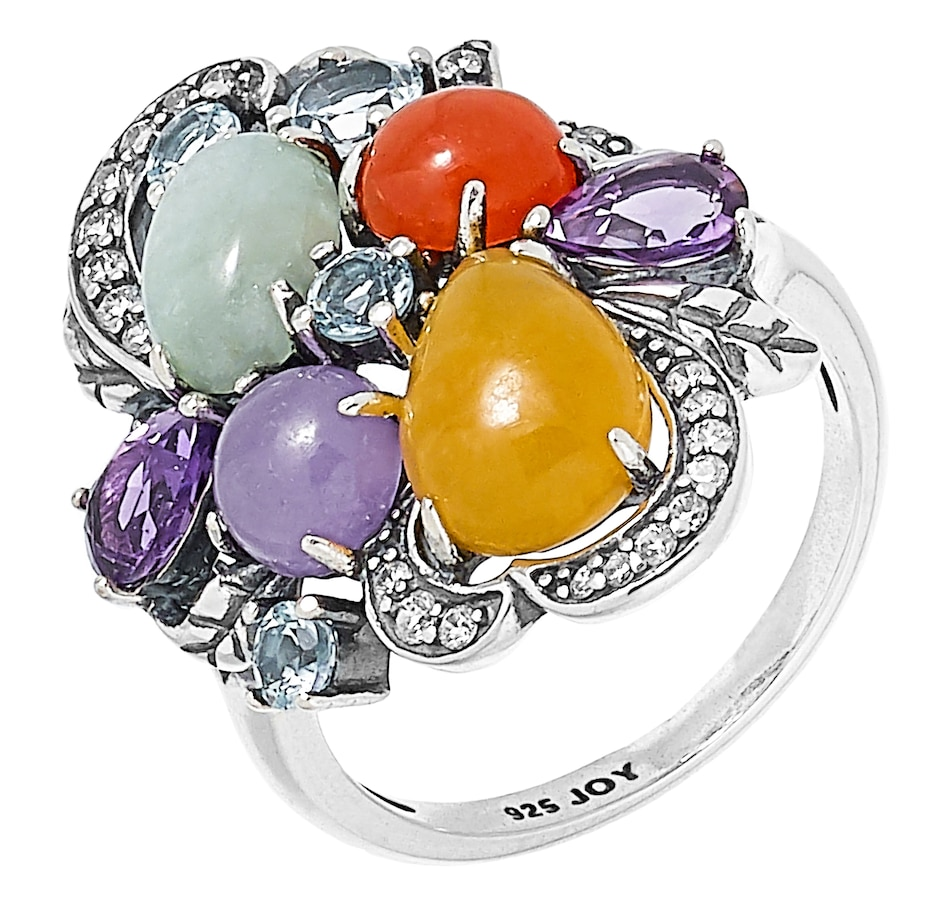 Image 476742.jpg , Product 476-742 / Price $125.00 , Jade of Yesteryear Sterling Silver Oxidized Multi Coloured Jade, Blue Topaz, Amethyst & Cubic Zirconia Ring from Jade of Yesteryear on TSC.ca's Jewellery department
